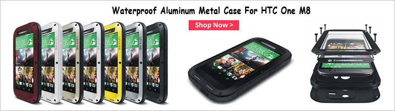 Curved line Aluminum Metal Gorilla Waterproof Case Cover For HTC One M8