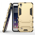 Hard Slim Armor Hybrid Kickstand Protective Cover Case for LG X Power K210 / K6P - Gold