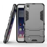 Hard Slim Armor Hybrid Kickstand Protective Cover Case for LG X Power K210 / K6P - Gray