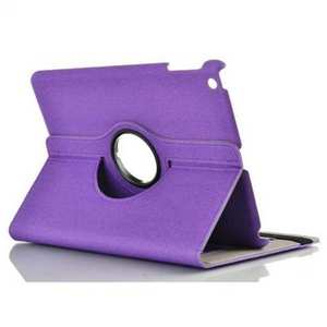 Newest 360 Degree Rotating Leather Stand Case w/ Holder for iPad Air - Purple