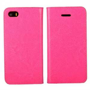 Crazy Horse Genuine Wallet Leather Cover Case for iPhone SE/5S/5 - Rose