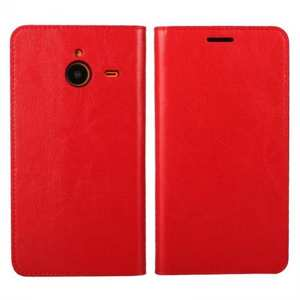 Crazy Horse Genuine Wallet Leather Cover Case For Microsoft Lumia 640XL - Red