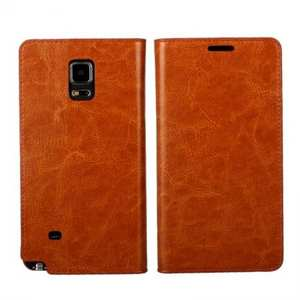 Crazy Horse Genuine Wallet Leather Cover Case For Samsung Galaxy Note 4 - Brown