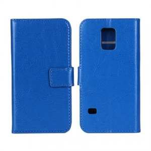 Crazy Horse Texture Stand Pu Leather Case for Samsung Galaxy S5 Mini with Card Slots - Blue