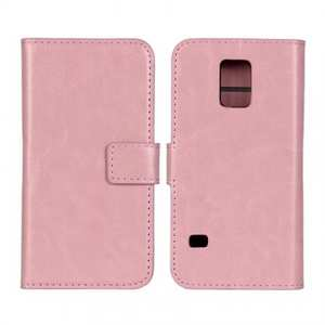 Crazy Horse Texture Stand Pu Leather Case for Samsung Galaxy S5 Mini with Card Slots - Pink