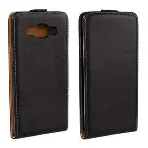 Genuine Real Leather Vertical Flip Case Cover for Samsung Galaxy A5 - Black