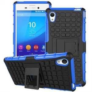 Shockproof Armor Design TPU Hard Case Cover Stand for Sony Xperia M4 Aqua - Blue