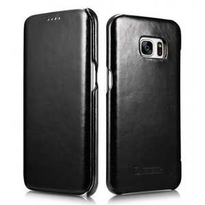 ICARER Vintage Classic Series Genuine Leather Flip Case For Samsung Galaxy S7 Edge - Black