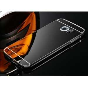 Luxury Metal Aluminum Bumper & Acrylic Mirror Back Case Cover For Samsung Galaxy S7 Edge - Black