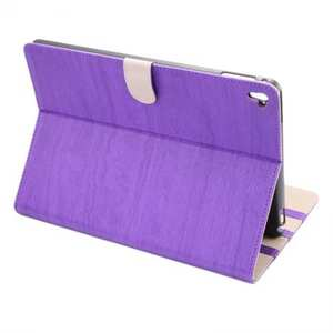 Wood Grain Magnetic Leather Flip Stand Case Cover for 9.7-inch iPad Pro - Purple