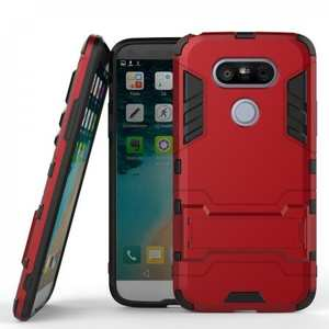 Heavy Duty Shockproof Armor with Kickstand Protective Case For LG G5 - Red