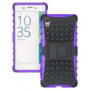 Shockproof Hybrid Dual Layer Armor Defender Protective Case with Kickstand for Sony Xperia X - Purple