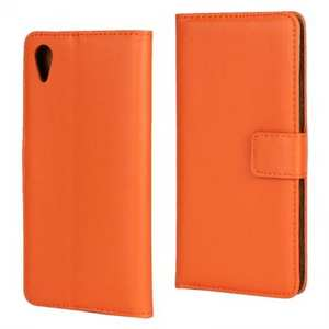 Luxury Genuine Leather Wallet Stand Flip Card Slots Case Cover For Sony Xperia X Performance - Orange