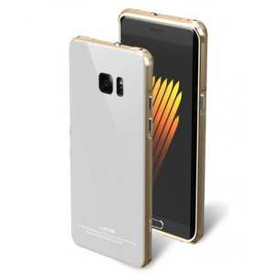 Aluminum Metal Bumper Tempered Glass Back Cover Case for Samsung Galaxy Note 7 - Gold&White