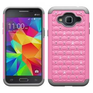 Diamond Bling Hybrid Tough Protective Cover Case For Samsung Galaxy Express Prime - Pink&Gray