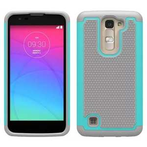 Hybrid Dual Layer Rugged Impact Hard Protective Case Cover For LG K7 / M1 / Tribute 5 - Cyan&Gray