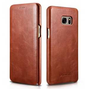ICARER Vintage Genuine Leather Side Flip Case for Samsung Galaxy Note 7 - Brown