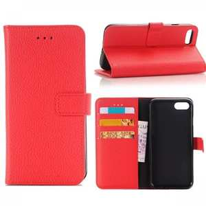 Litchi Grain PU Leather Flip Stand Case Cover with Card Slot for iPhone 7 - Red