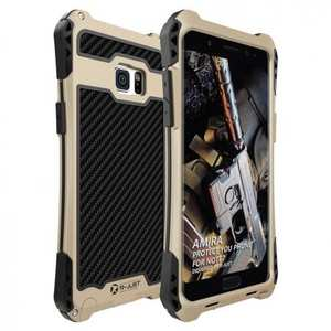 Luxury Aluminum Metal Shockproof Case Cover for Samsung Galaxy Note 7 - Gold/Black