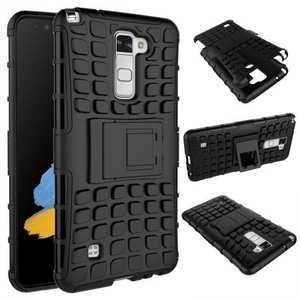 Rugged Armor Dual Layer Hybrid Kickstand Protective Case for LG Stylo 2 PLUS MS550 - Black