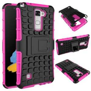 Rugged Armor Dual Layer Hybrid Kickstand Protective Case for LG Stylo 2 PLUS MS550 - Hot pink