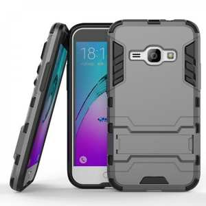 Rugged Armor Dual Layer Hybrid Kickstand Protective Case for Samsung Galaxy J1 2016 / Amp 2 - Gray