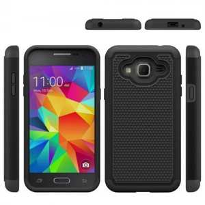 Rugged Dual Layer Hybrid Armor Matte Hard Protective Case for Samsung Galaxy Sol - Black