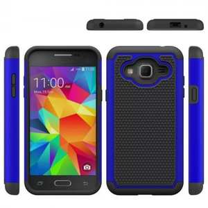 Rugged Dual Layer Hybrid Armor Matte Hard Protective Case for Samsung Galaxy Sol - Dark blue