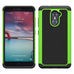 ShockProof Dual Layer Hybrid Skin Cover Case For ZTE Grand X Max 2 / Max Duo LTE / Z988 - Green
