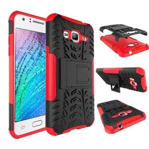 Shockproof Rugged Hybrid Armor Kickstand Phone Cover Case for Samsung Galaxy Sol - Red