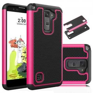 Tough Dual Layer Hybrid Armor Shockproof Case Cover For LG Stylo 2 Plus MS550 - Hot pink