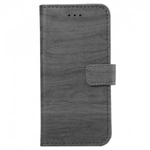 Wood Grain Pu Leather Flip Wallet Stand Case for iPhone 7 - Grey