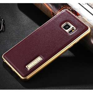 Aluminum Metal Bumper Case+Genuine Leather Back Cover For Samsung Galaxy Note 7 - Wine Red/Champagne