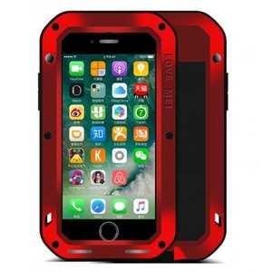 Aluminum Metal Gorilla Glass Shockproof Case for Apple iPhone 7 - Red