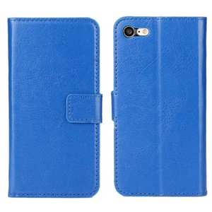 Crazy Horse Magnetic PU Leather Flip Case Inner TPU Frame for iPhone 7 4.7 inch - Blue