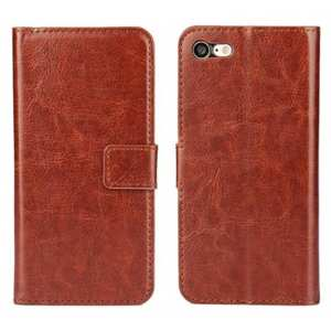 Crazy Horse Magnetic PU Leather Flip Case Inner TPU Frame for iPhone 7 4.7 inch - Brown