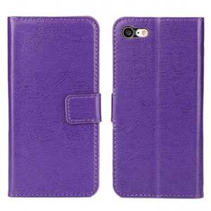 Crazy Horse Magnetic PU Leather Flip Case Inner TPU Frame for iPhone 7 4.7 inch - Purple