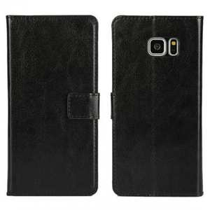 Crazy Horse PU Leather Flip Stand Wallet Case For Samsung Galaxy Note 7 - Black