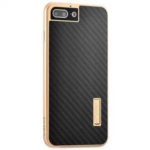 Deluxe Metal Aluminum Frame Carbon Fiber Back Case Cover For iPhone 7 4.7 inch - Gold&Black