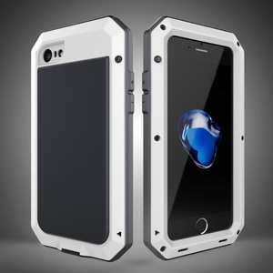 Full-Body Aluminum Metal Cover & Tempered Glass Screen Protector Case for iPhone 7 - White