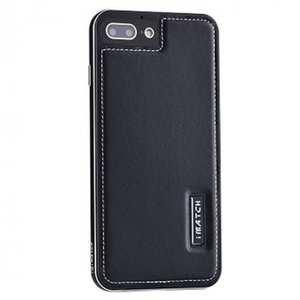 Genuine Leather Back+Aluminum Metal Bumper Case Cover For iPhone 7 Plus 5.5 inch - Black