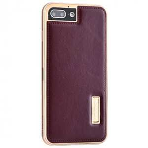 Genuine Leather Back+Aluminum Metal Bumper Case Cover For iPhone 7 Plus 5.5 inch - Gold&Wine Red