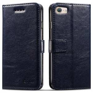 High quality PU Leather Floral Print Magnetic Stand Leather Case for iPhone 7 4.7 inch - Dark Blue