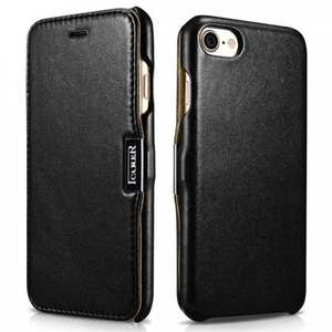 ICARER Luxury Magnet Genuine Leather Side-Open Flip Case For iPhone 7 4.7 inch - Black