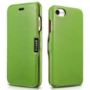 ICARER Luxury Magnet Genuine Leather Side-Open Flip Case For iPhone 7 Plus 5.5 inch - Green