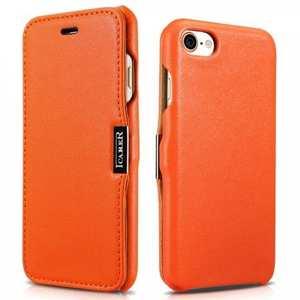 ICARER Luxury Magnet Genuine Leather Side-Open Flip Case For iPhone 7 Plus 5.5 inch - Orange
