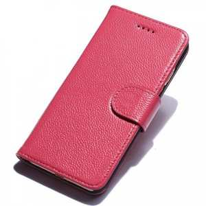 Litchi Grain Genuine Leather Wallet Cover Case with Card Slot for iPhone 7 Plus 5.5 inch - Rose