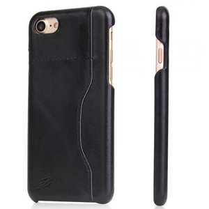 Luxury Wax Oil Pattern Genuine Leather Back Cover Case For iPhone 7 Plus 5.5 inch - Black