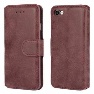 Matte Frosted Flip Leather Stand Wallet Case for iPhone 7 4.7 inch - Wine Red