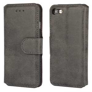 Matte Frosted Leather Flip Stand Wallet Case for iPhone 7 Plus 5.5 inch - Black